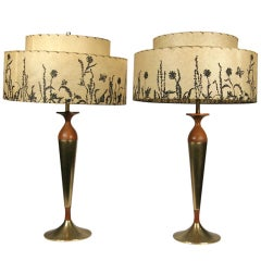 Mid-Century Mahogany and Brass Table Lamps  **Saturday Sale **