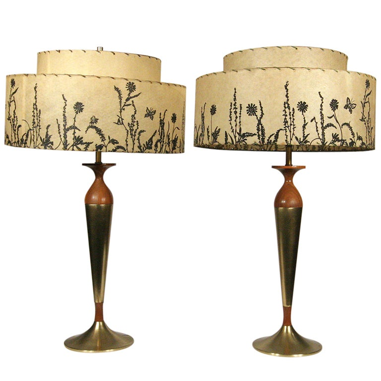 Mid-Century Mahogany and Brass Table Lamps