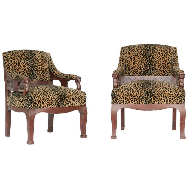 Empire Style Chair pair with Leopard Print covering at 1stdibs