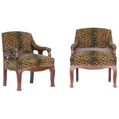 Empire Style Chair Pair with Leopard Print Covering
