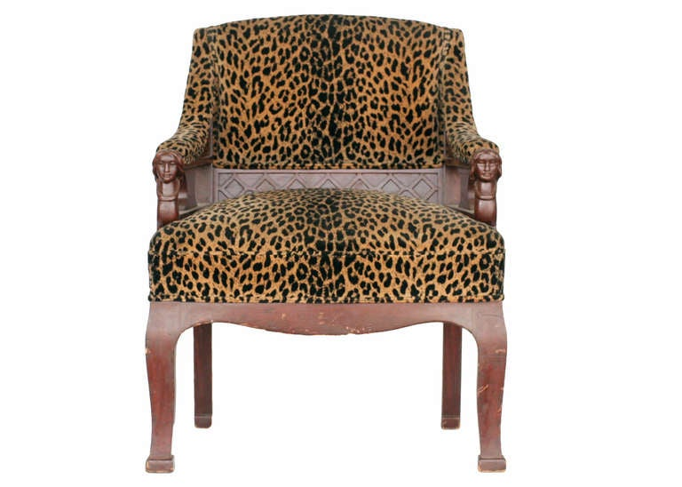 Empire Style Chair Pair With Leopard Print Covering Saturday Sale For Sale At 1stdibs