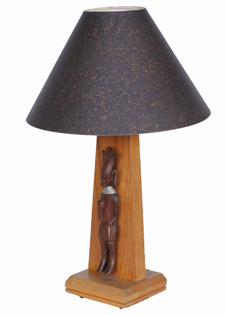Mid Century Table Lamp With African Carving For Sale At