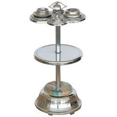 Chrome Art Deco Two Tier Ashtray Stand with Electric Lighter