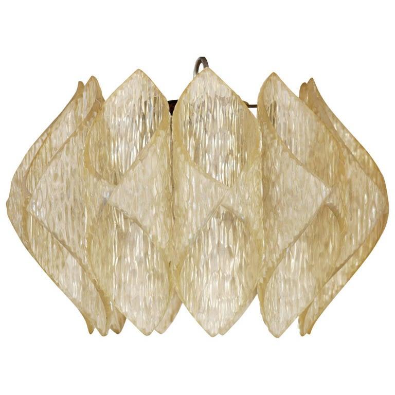 """Mid Century Folded Lucite """"Origami"""" Ceiling Pendant Light **Saturday Sale**"""