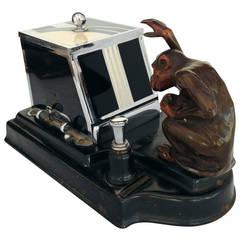 """Ronson """"Pik-a-Cig"""" Monkey Striker Lighter & Cigarette Dispenser"""