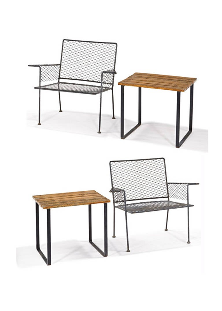 American Van Keppel, Green Outdoor Club Chair And Side Table Set For Sale