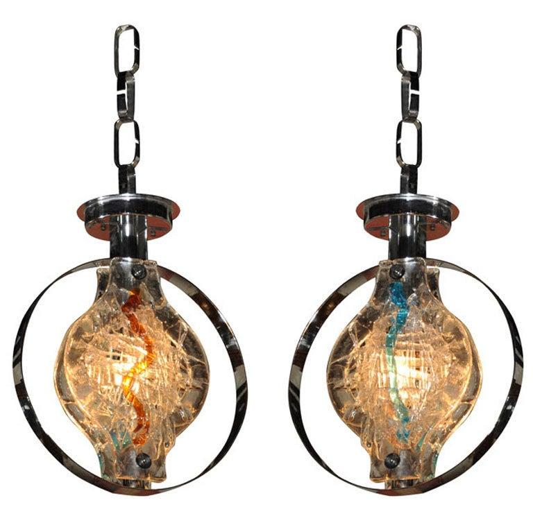 Pendant Light Sale: Pair Of Murano Glass Pendant Lights Or Chandelier