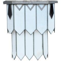 Restored Art Deco Leaded Glass Chandelier