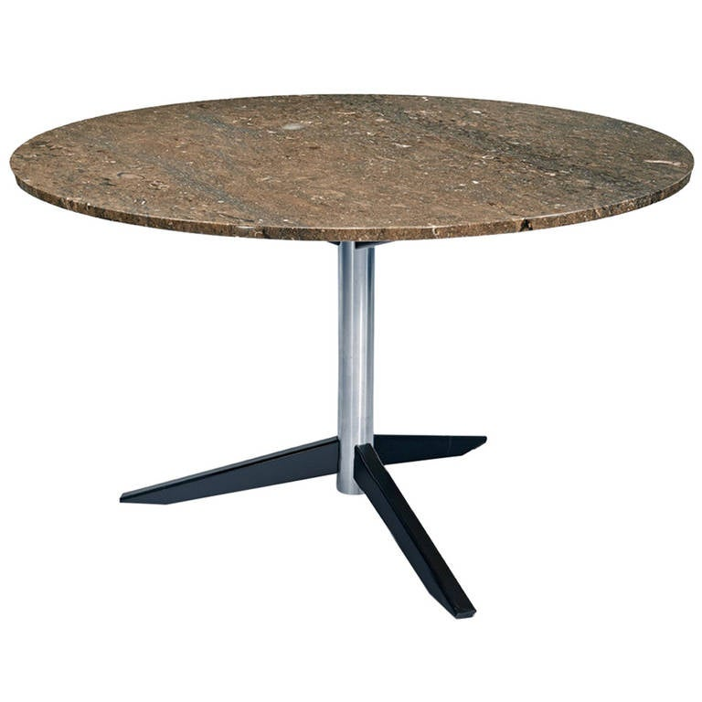 Round Italian Mid Century Marble Dining Table For Sale At 1stdibs