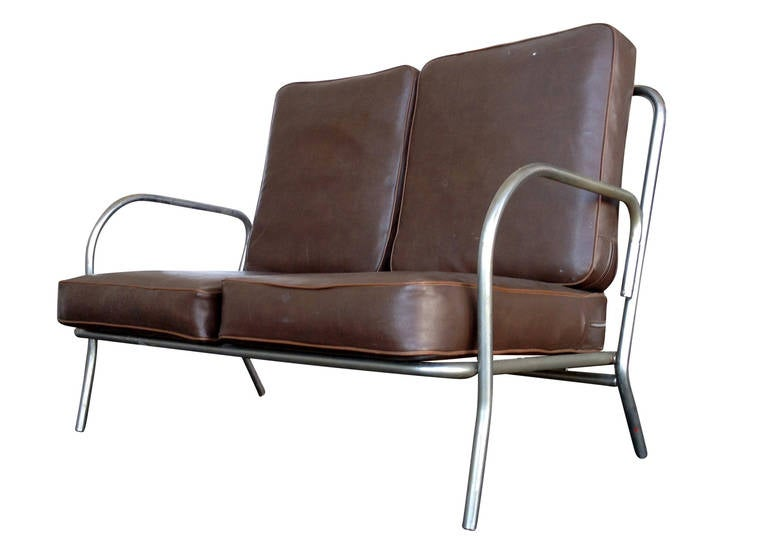 Art Deco Chrome Folding Sofa Loveseat At 1stdibs