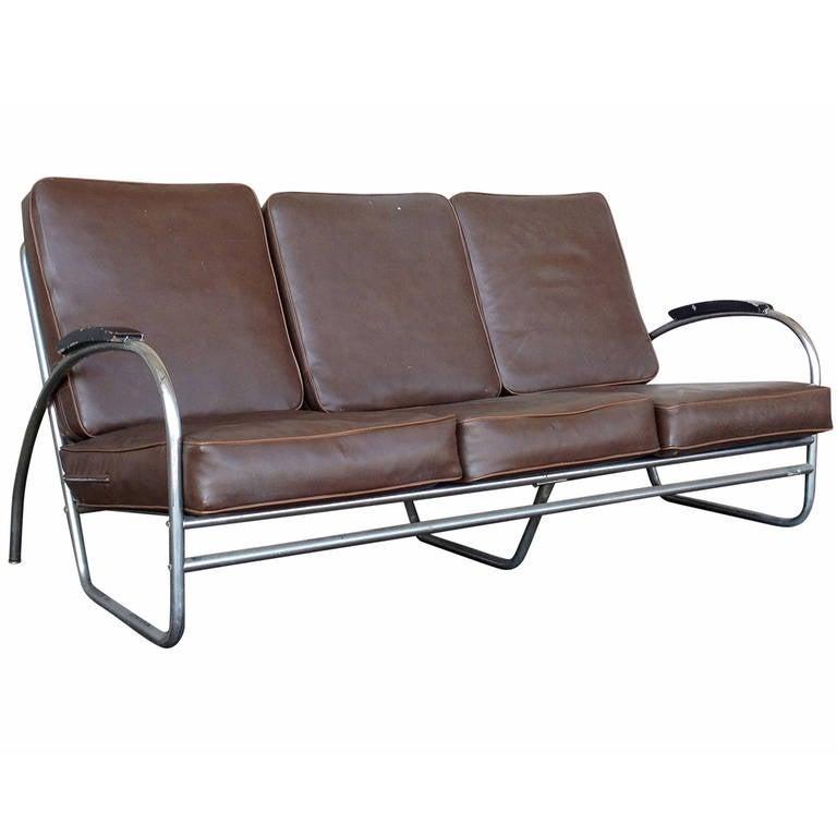 Wolfgang Hoffmann Style Chrome Tublar Sofa by Royal Metal