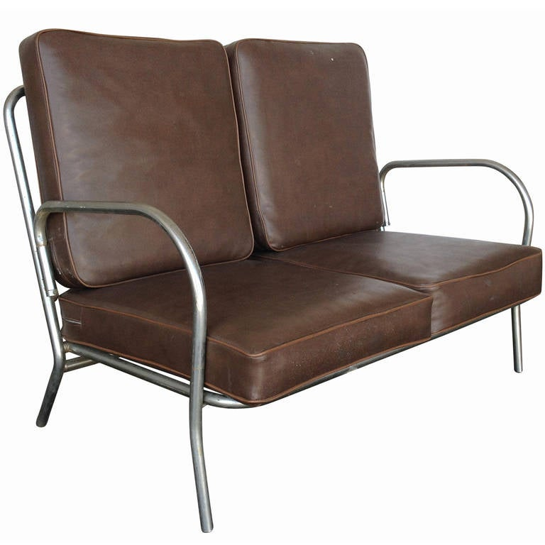 Art Deco Chrome Folding Sofa Loveseat Saturday Sale For Sale At 1stdibs