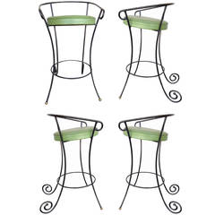 Black Iron Bar Stools w/ Scrolling Accents, Set of Four  **Saturday Sale**
