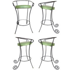 Black Iron Bar Stools w/ Scrolling Accents, Set of Four