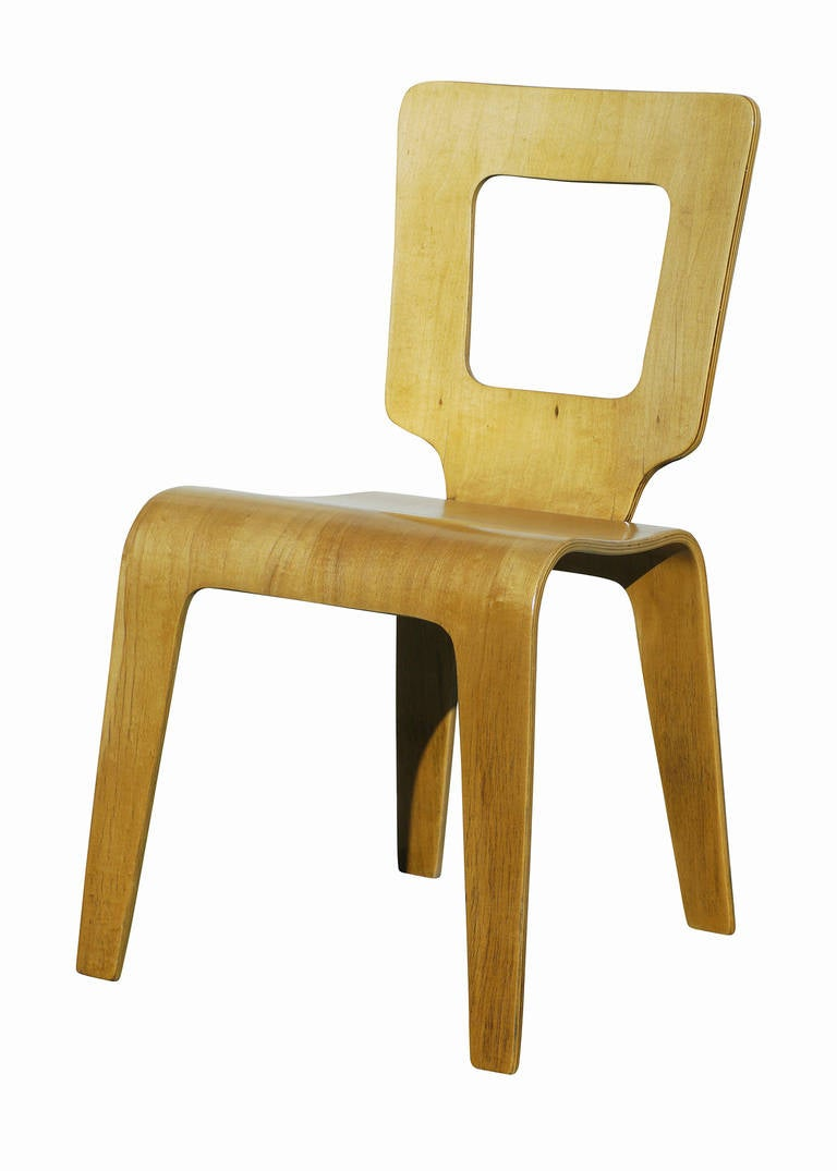 Mid-20th Century Set of Six Bent Plywood Side Chairs by Thaden-Jordan Furniture **Sature Sale** For Sale
