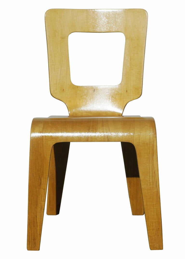 American Set of Six Bent Plywood Side Chairs by Thaden-Jordan Furniture **Sature Sale** For Sale