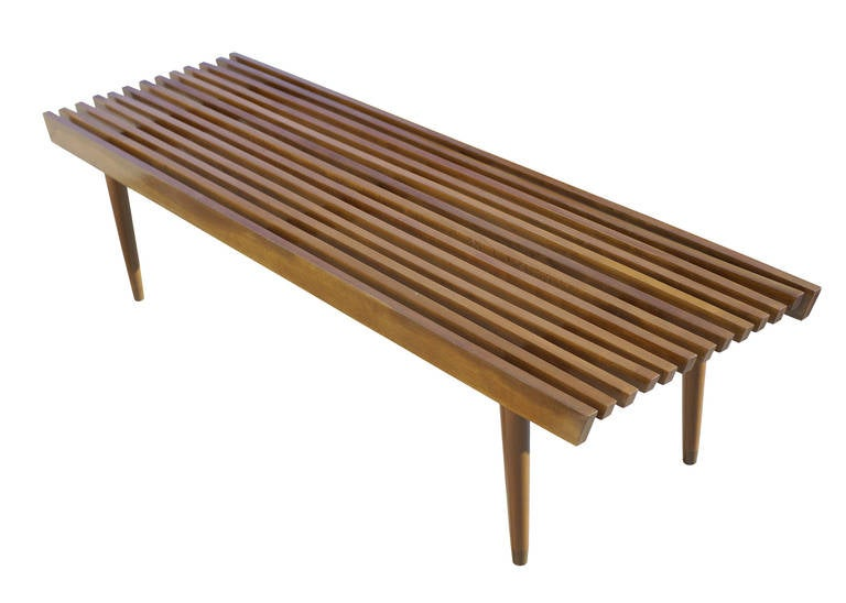 Captivating George Nelson Style Wood Slat Bench And Coffee Table 2