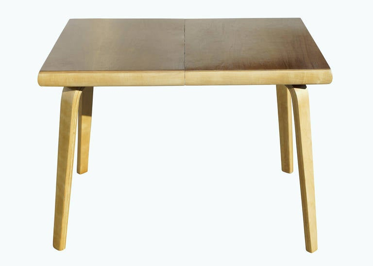Rare bent plywood dining table by thaden jordan furniture for S bent dining room furniture