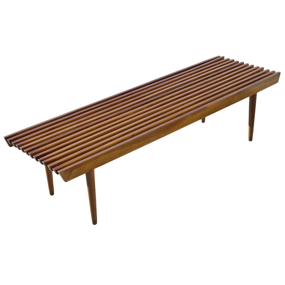 George Nelson Style Wood Slat Bench And Coffee Table At 1stdibs