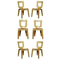Set of Six Bent Plywood Side Chairs by Thaden-Jordan Furniture **Saturday Sale**