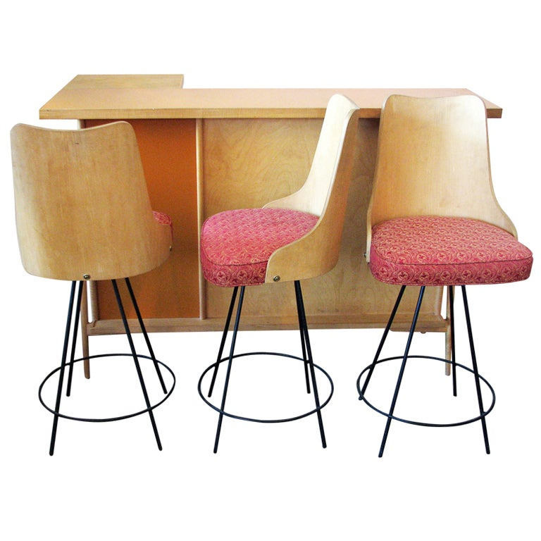 Mid century modern bar with matching bent wood bar stools at 1stdibs