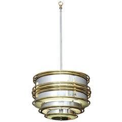 Machine Age Chrome & Brass Streamline Ceiling Light **Saturday Sale**