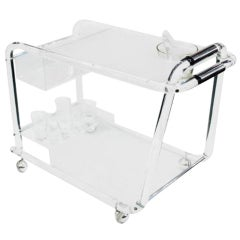 Mid-Century Lucite Bar Cart with Chrome Accents ** Saturday Sale **