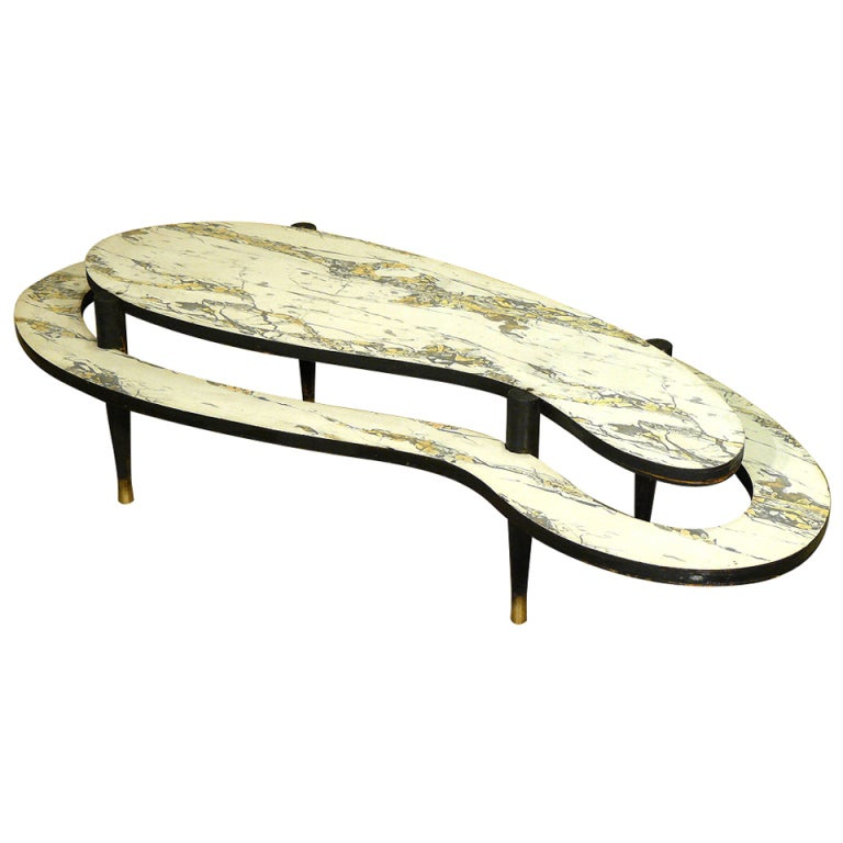 Mid-Century Modern Two-Tier Biomorphic Coffee Table For