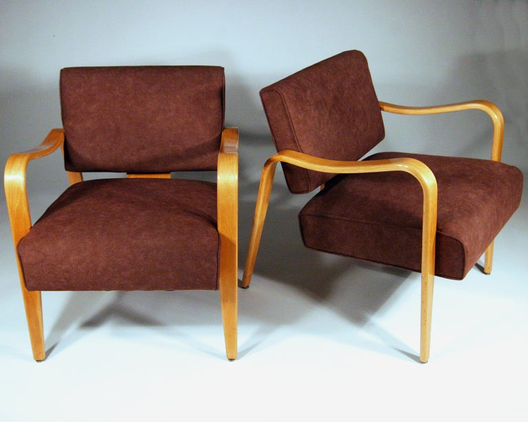 Mid century modern thonet bent plywood armchairs pair at 1stdibs