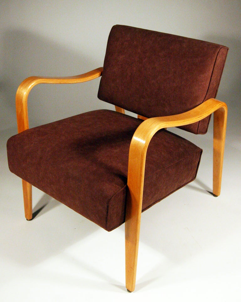 Mid century modern thonet bent plywood armchairs pair for sale at