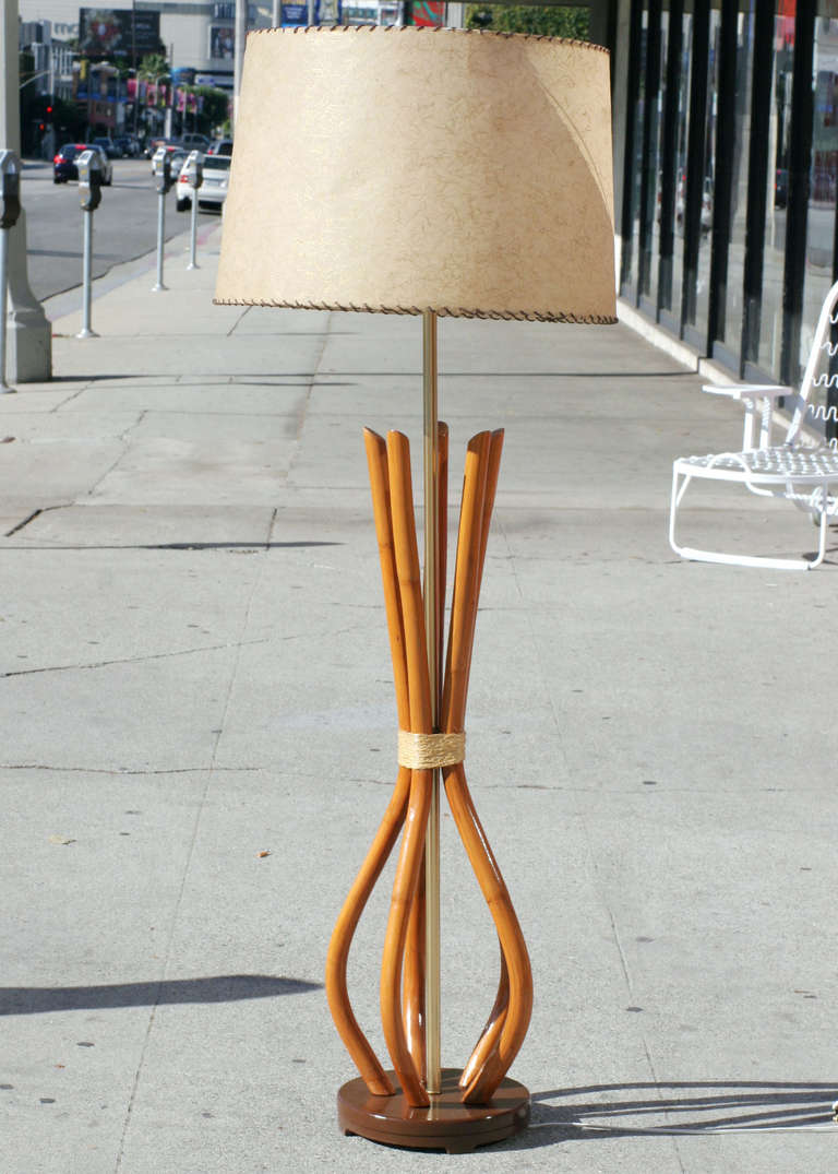 French Light Poles : Restored mid century french rattan pole lamp for sale at