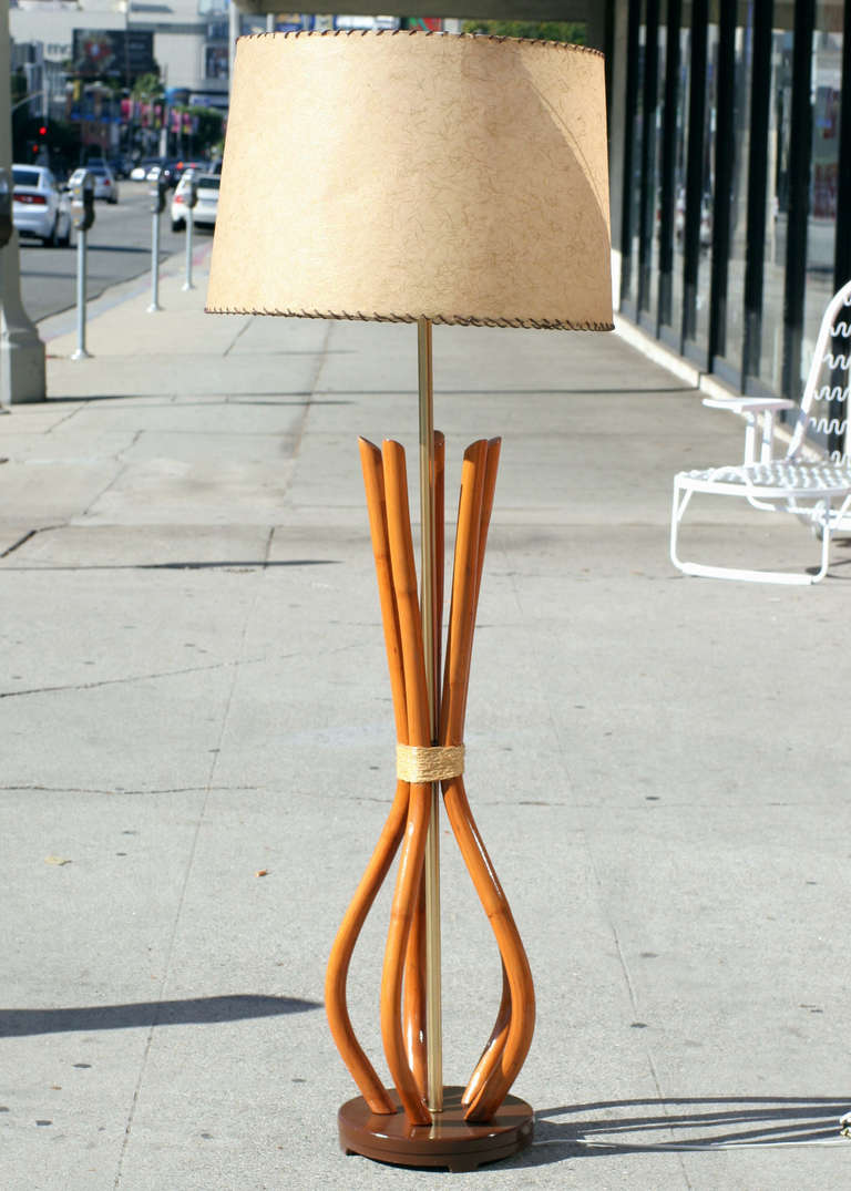 mid century french rattan pole lamp for sale at 1stdibs. Black Bedroom Furniture Sets. Home Design Ideas