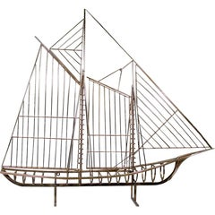 Curtis Jeré Skeleton Sailboat Sculpture in Brass