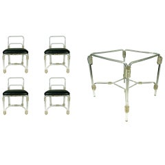 Elegant 1940s Lucite Dining Table with Four Matching Chairs by Grosfeld House