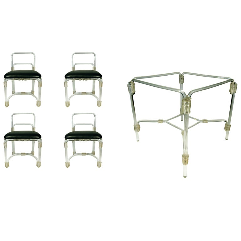 1940s Lucite Dining Table with Four Chairs by Grosfeld