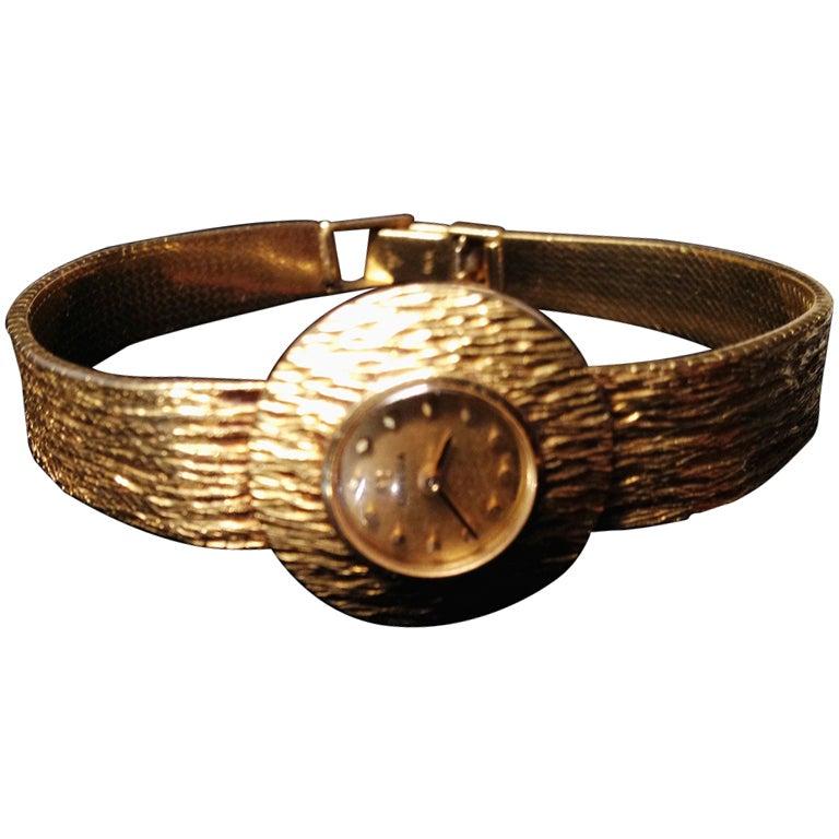 Mid-Century Modern 14-Karat Gold Omega Women's Wrist Watch