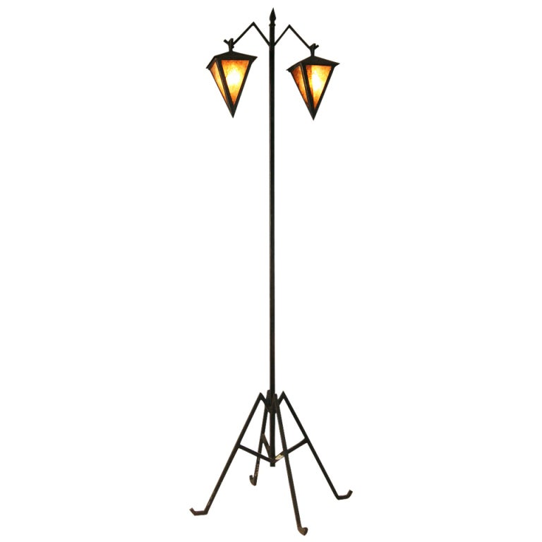 arts and crafts floor lamp with dual lanterns saturday. Black Bedroom Furniture Sets. Home Design Ideas
