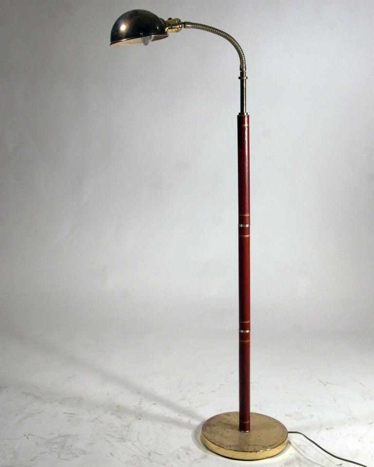 Mid Century Modern Leather And Brass Gooseneck Floor Lamp