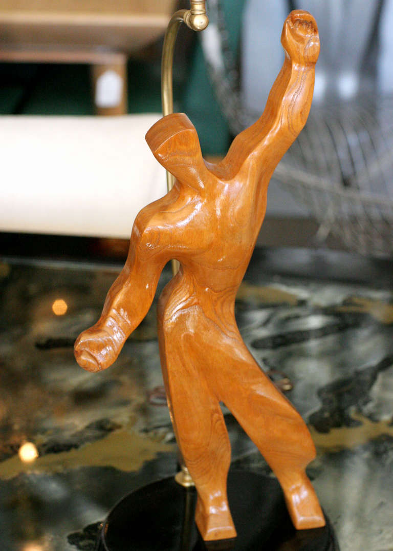 Heifetz Style Hand-Carved Male Figural Table Lamp In Excellent Condition For Sale In Van Nuys, CA