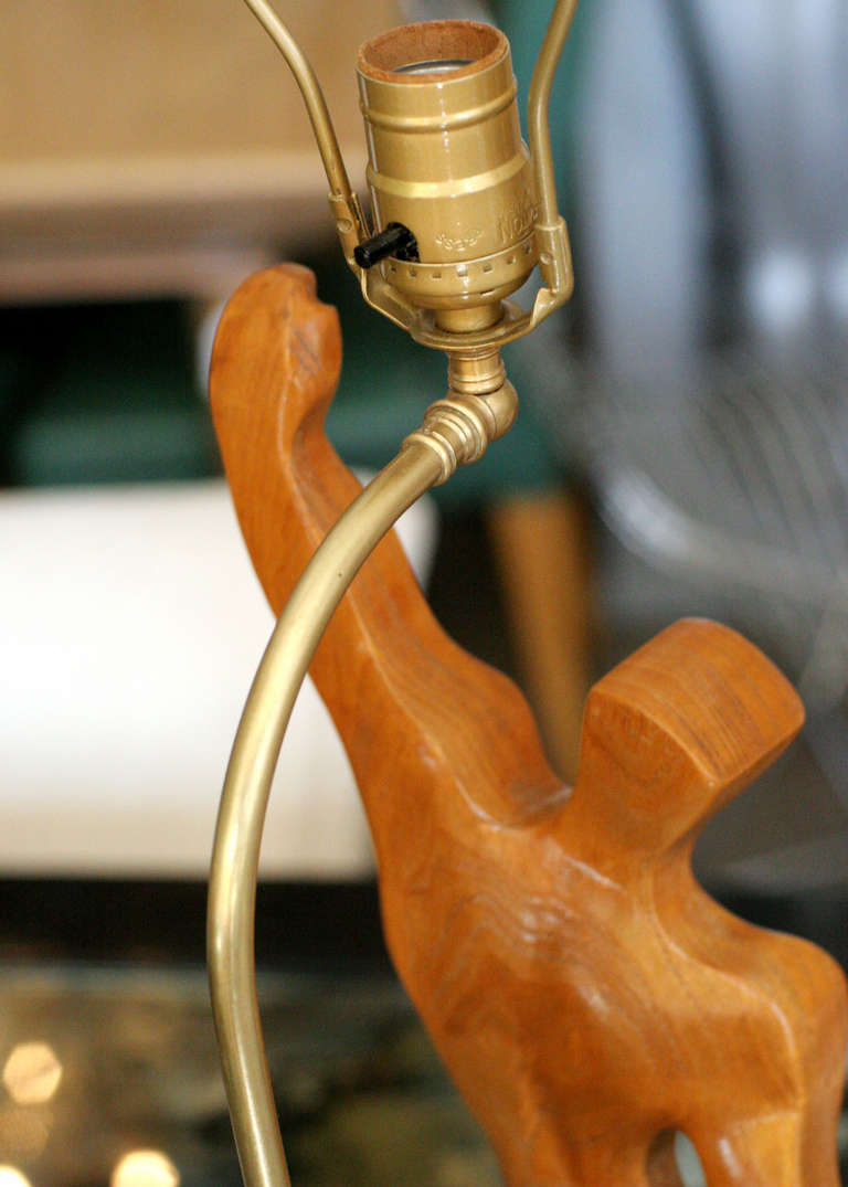 Oak Heifetz Style Hand-Carved Male Figural Table Lamp For Sale