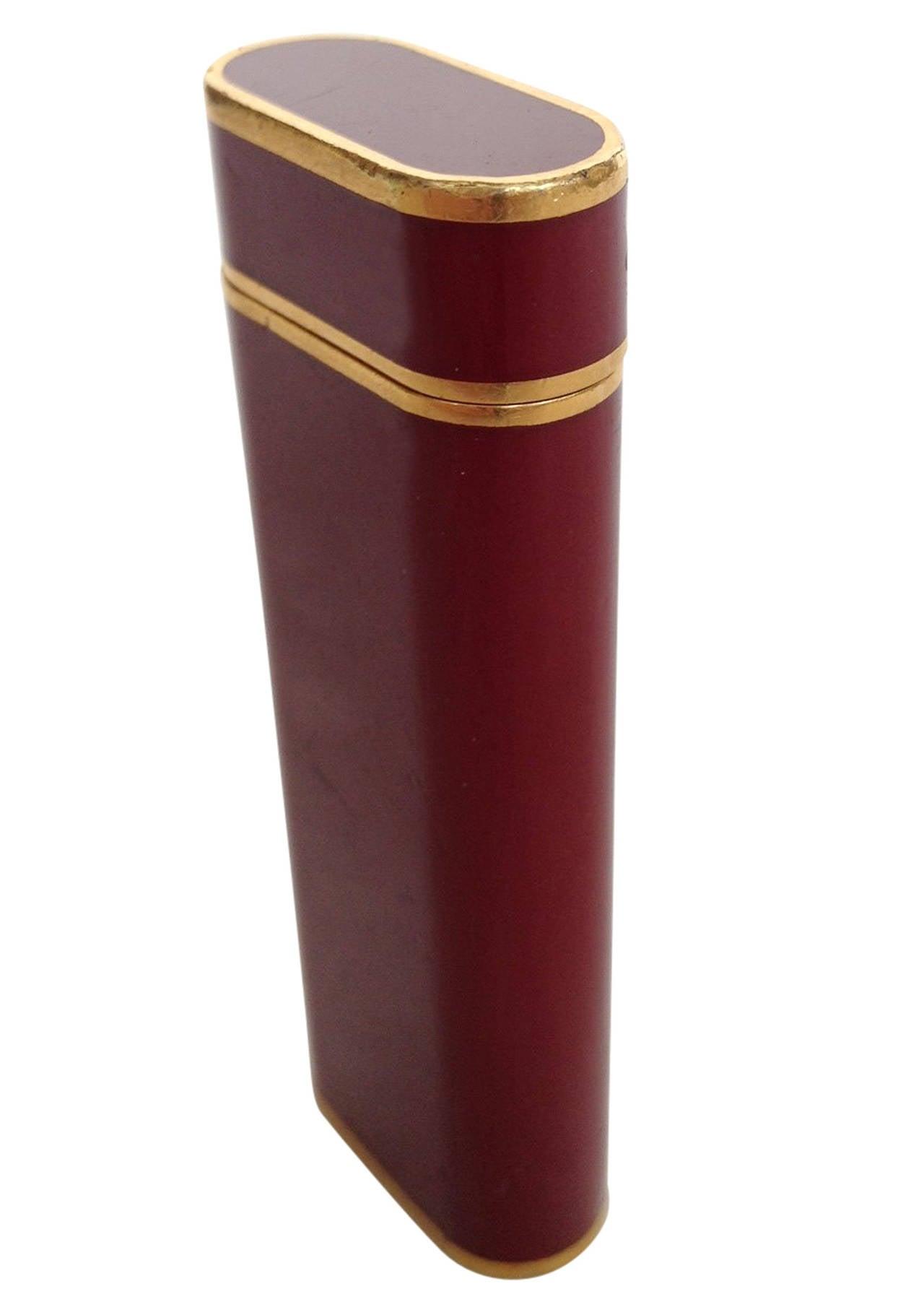 Red And Gold Home Decor Burgundy Enamel Cartier Pocket Lighter At 1stdibs