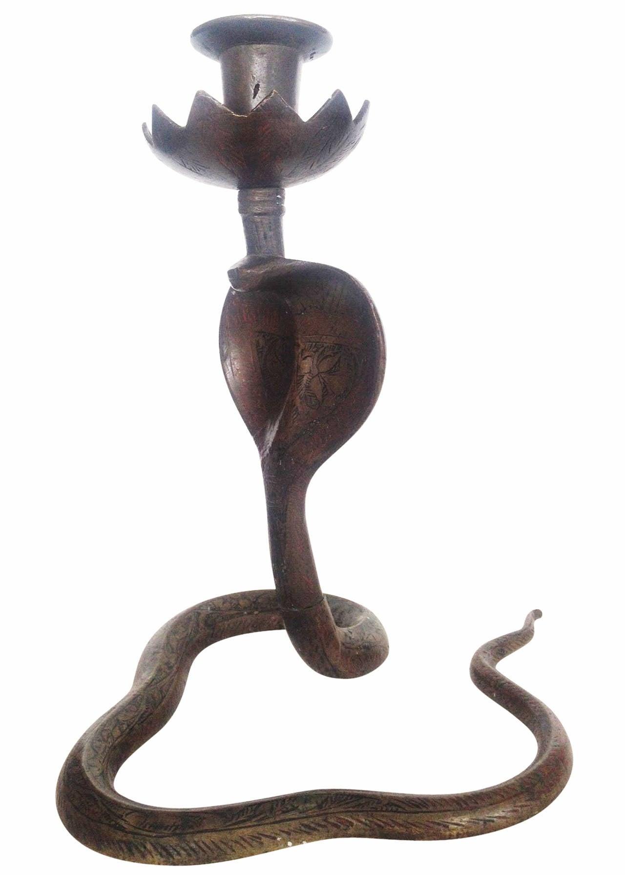 Bronze Indian Cobra Snake Candleholder, Pair 3