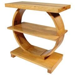 Art Deco Brown Saltman Side Table / Open Media Unit in Maple