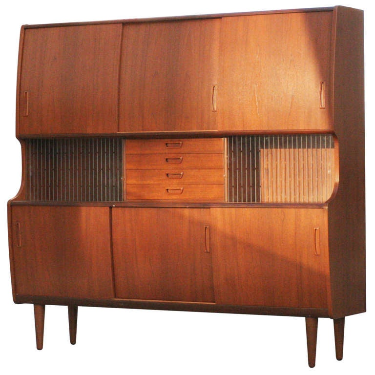 Danish Modern Walnut Hutch with Built in Bar at 1stdibs