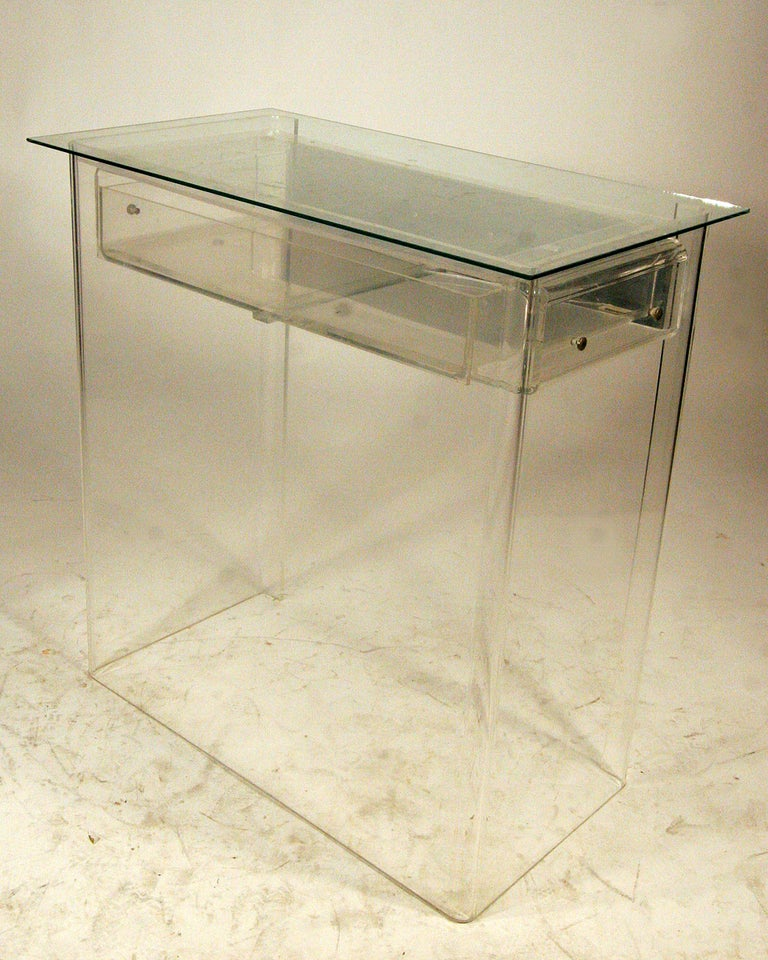 1960s lucite vanity entry console in manner of charles for Small acrylic console table
