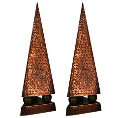 French Modernist Hand-Hammered Copper Obelisks, Pair