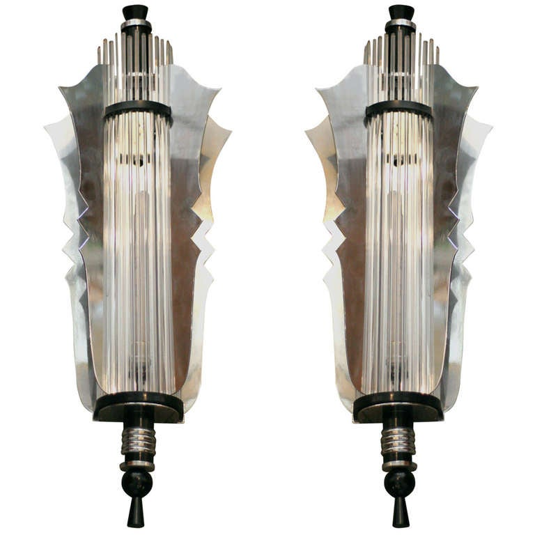 Grand Theater Art Deco Wall Sconce, Pair at 1stdibs