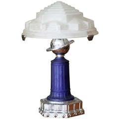 Vianne Glass Art Deco Styled Cobalt Table Lamp