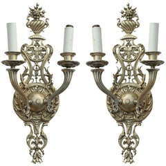 Pair of Baroque Style Ormolu Wall Sconces, 19th Century