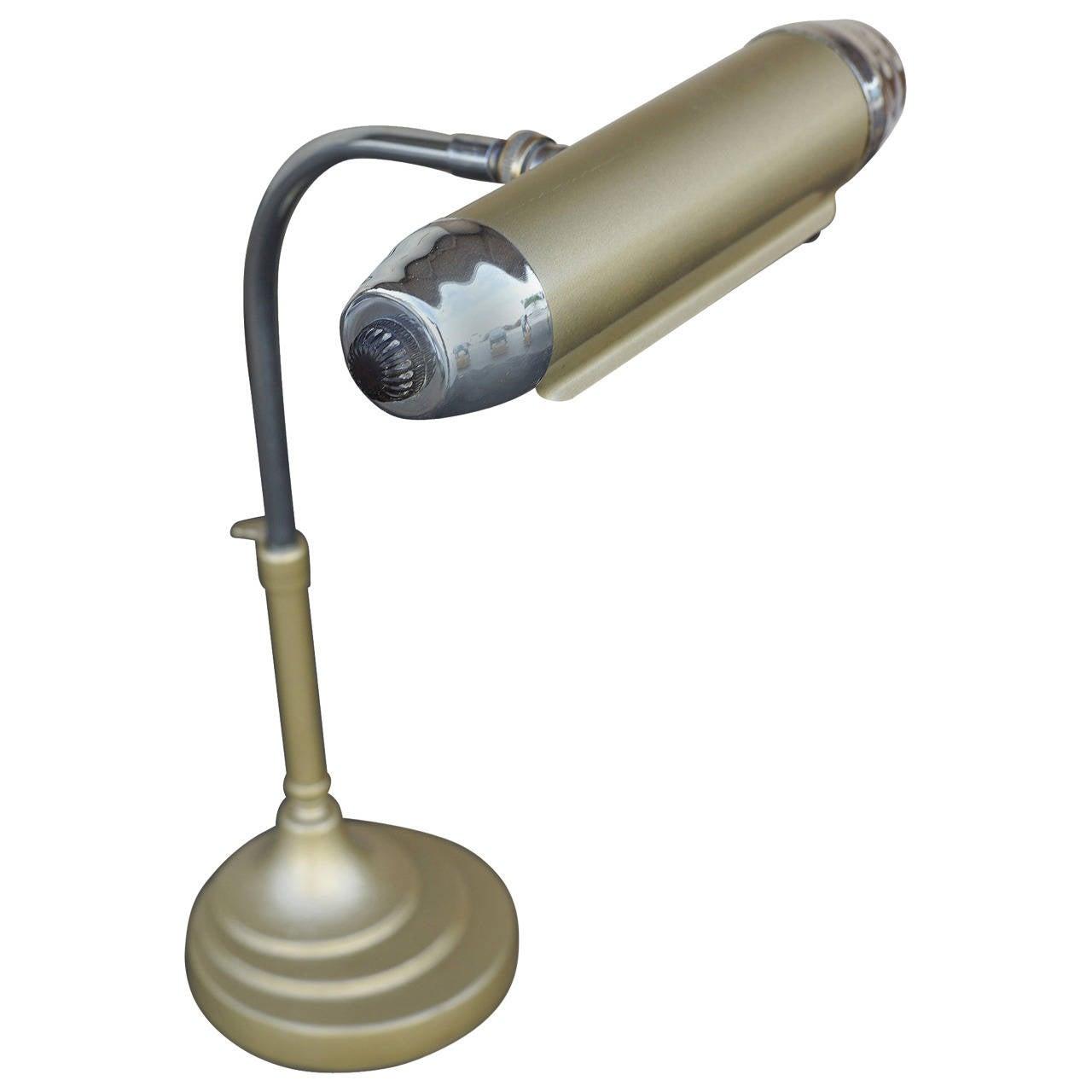 Enamel and Chromium Streamline Bankers Desk Lamp